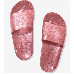 PINK by Victoria's Secret Jelly Glitter Slides